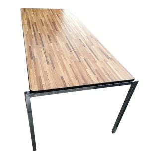 Mid-Century Modern Faux Butcher Block Chrome Leg Desk or Table Florence Knoll Manner For Sale