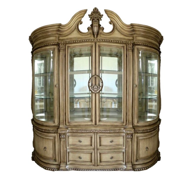 Baroque Style Illuminated China Cabinet For Sale