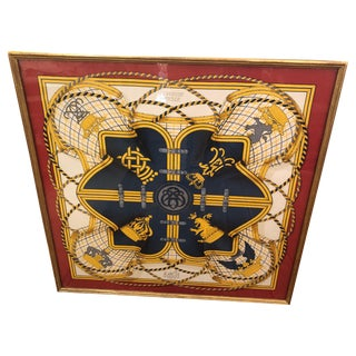Framed Red Gold and Blue Hermes Scarf Wall Art For Sale