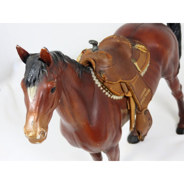 Hubley Manufacturing Company 1930s Cast Iron Horse & Leather Saddle Doorstop For Sale - Image 4 of 12