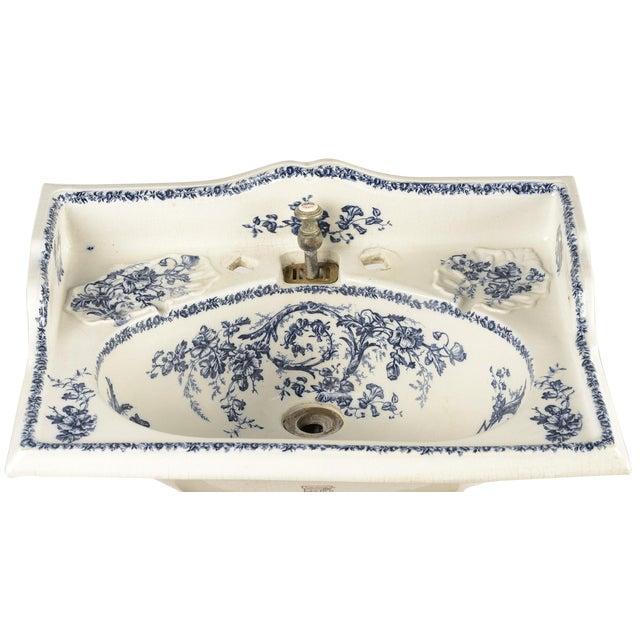 Porcelain Sink Basin With Blue Floral Pattern For Sale