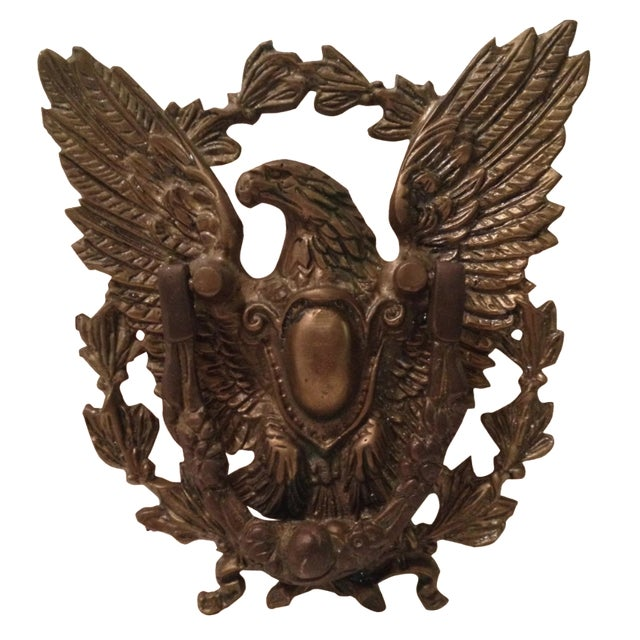 Eagle Door Knocker with Crest Plate For Sale