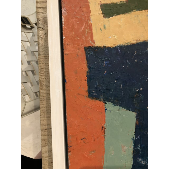 Canvas Mid-Century Danish Color Story on Board in Custom White Washed Floater Frame For Sale - Image 7 of 13