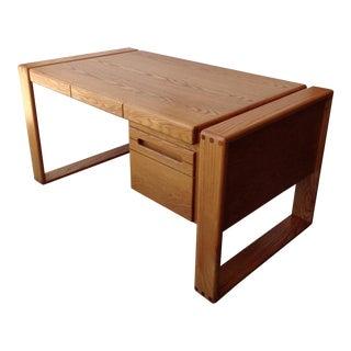 1970s Mid-Century Modern Lou Hodges Oak Craftsman Writing Desk For Sale