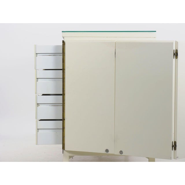 Vintage Modern White Lacquer Cabinet Credenza With Eight Drawers Circa 1980s For Sale - Image 12 of 13