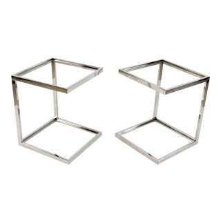 Pair of 2-Tiered Chrome Side Tables