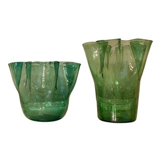Vintage Green Hand Blown Glass Vases - a Pair For Sale