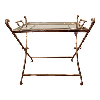 1960s Campaign Style Brass Folding Tray Table/ Bar Cart For Sale