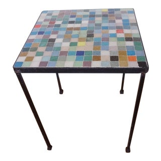 Mid-Century Glass Tile Top Iron Side Table For Sale