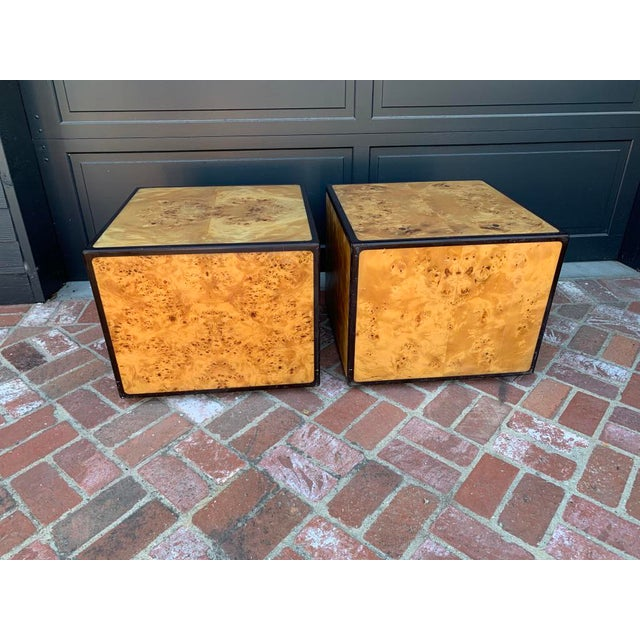 1970's Mid-Century Modern Burlwood Block End Tables - a Pair For Sale In Los Angeles - Image 6 of 6