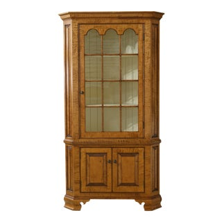 Benchmade Hand Crafted Tiger Maple Corner Cabinet For Sale
