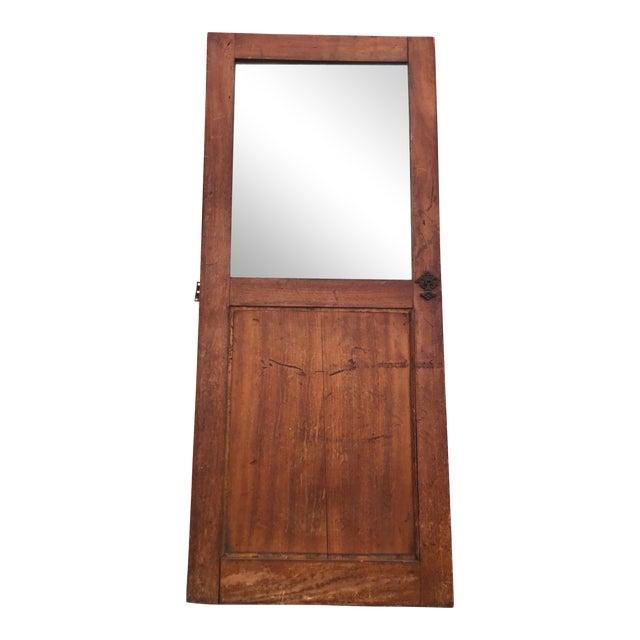 Antique Architectural Fragment Mercury Mirror Panel Inset & Hardware Wood Door For Sale