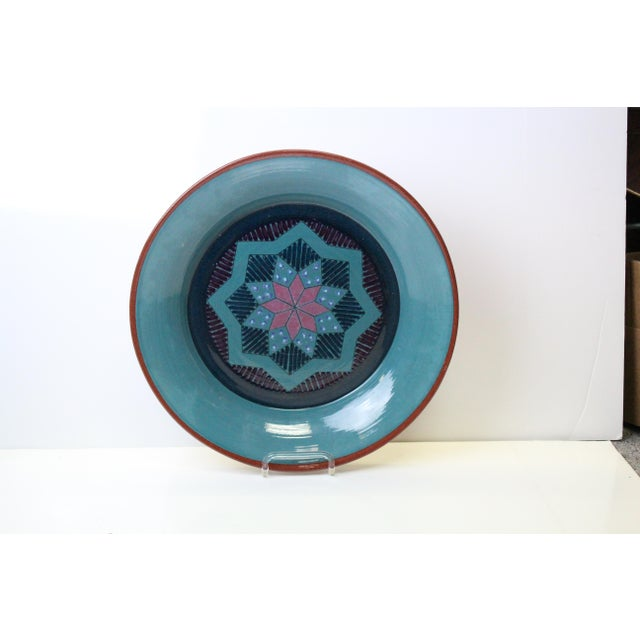Turquoise Vintage Turquoise Pottery Charger For Sale - Image 8 of 8