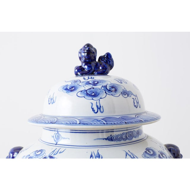 Oversized Chinese Blue and White Porcelain Ginger Jar For Sale - Image 4 of 13