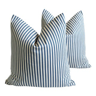 "French Blue & White Feather/Down Ticking Striped Pillows 23"" Square - Pair For Sale"