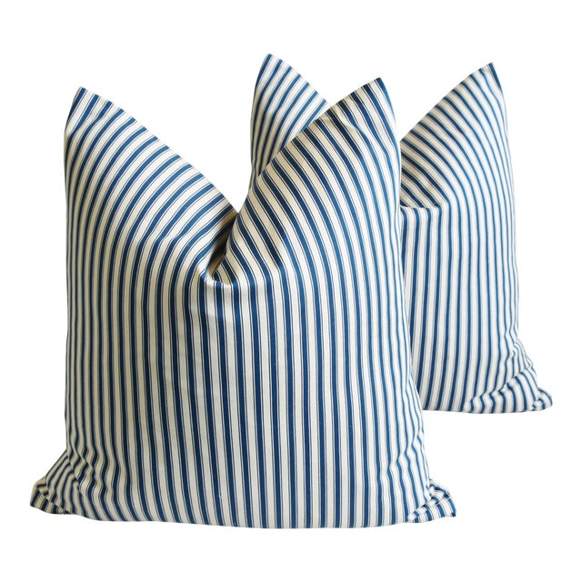 """French Blue & White Feather/Down Ticking Striped Pillows 23"""" Square - Pair For Sale"""