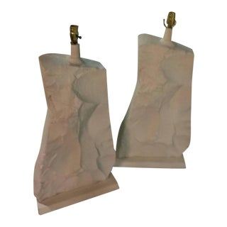 Monumental Mid-Century Modern Rock Stone Table Lamps - a Pair For Sale