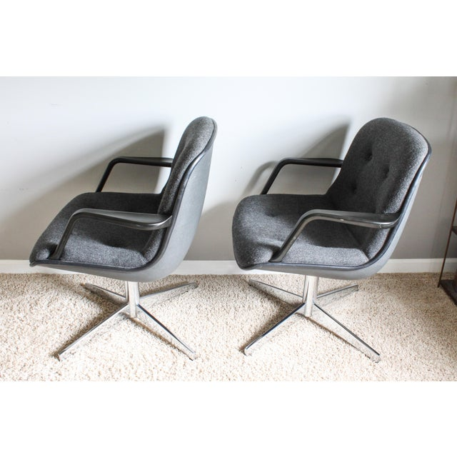 Industrial 1980s Vintage United Chair Tufted Grey Tweed Pollock Style Chairs- A Pair For Sale - Image 3 of 10