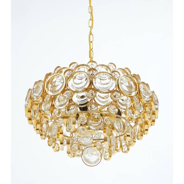 Palwa Large Gold Palwa Brass and Glass Chandelier Lamp, Germany 1960 For Sale - Image 4 of 9