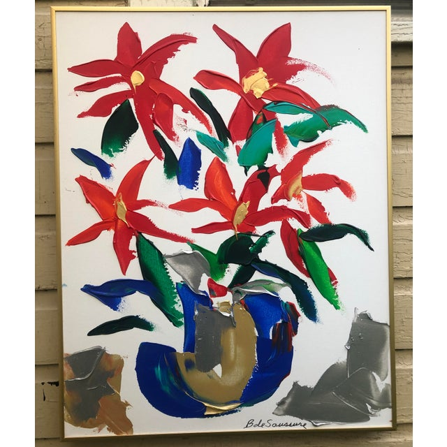 1980s Barbara De Sassure Floral Still Life Painting For Sale - Image 12 of 12