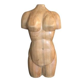 Vintage Organic Modern Carved Wood Nude Female Sculpture For Sale