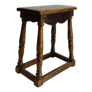 Antique English Oak Joint Joined Pegged Stool For Sale