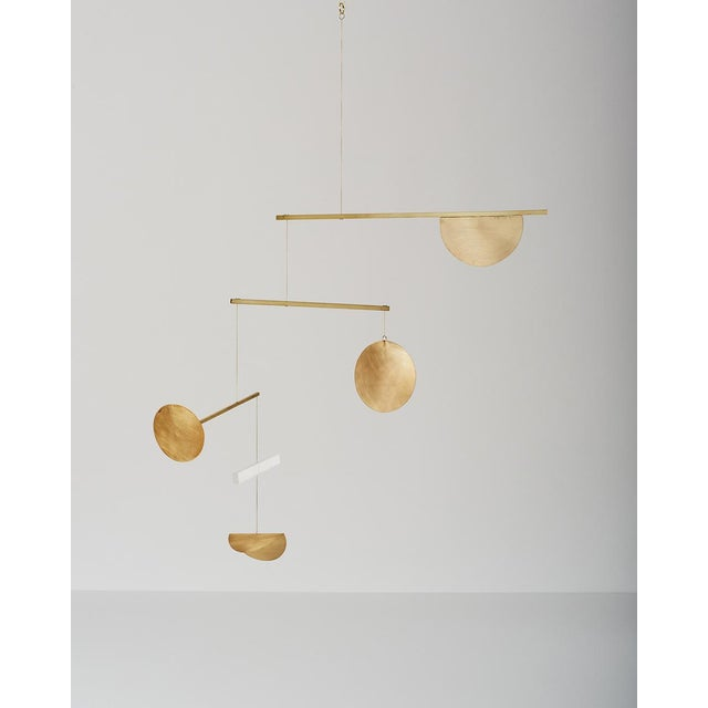 Brass and Frosted Plexiglass Mobile - Image 2 of 3