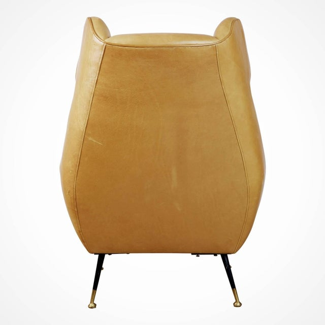 1960s Vintage Gigi Radice for Minotti Italian Leather Wingback Chairs- A Pair For Sale In Los Angeles - Image 6 of 10
