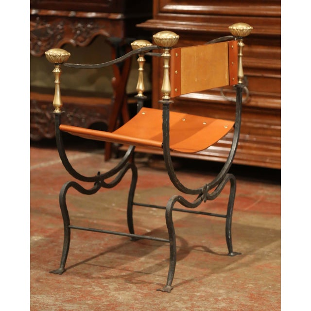 Gold 19th Century Italian Wrought Iron, Bronze and Tan Leather Campaign Armchair For Sale - Image 8 of 9