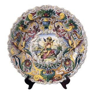 19th Century Antique Ardalt Capodimonte Italian Wall Plate For Sale