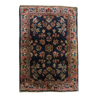 Navy Blue Sarouk Mat, 1'4'' X 1'9'' For Sale