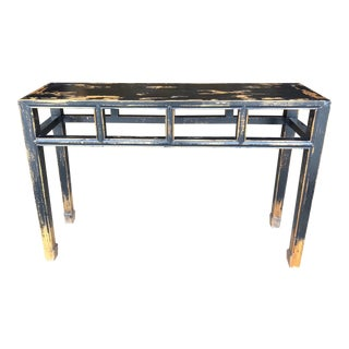 Asian Modern Distressed Black Console Table