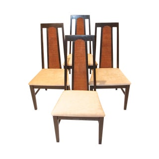 Mid-Century Modern Cane Back Ebonised Chairs - 4 For Sale