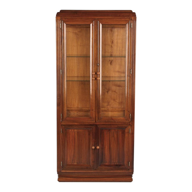 1930s Art Deco Walnut Vitrine/Display Cabinet For Sale