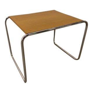Mid-Century Modern Marcel Breuer for Thonet Wood and Chrome Side Table For Sale