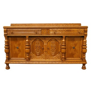 1920's Gothic Revival Solid Oak Buffet For Sale