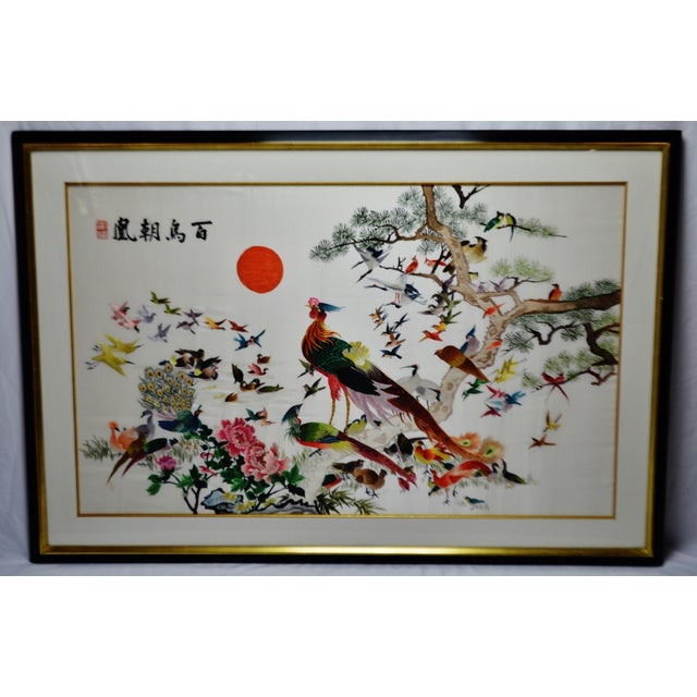 Asian Vintage Framed 100 Birds Adore the Phoenix Chinese Silk Embroidery For Sale - Image 3 of 13