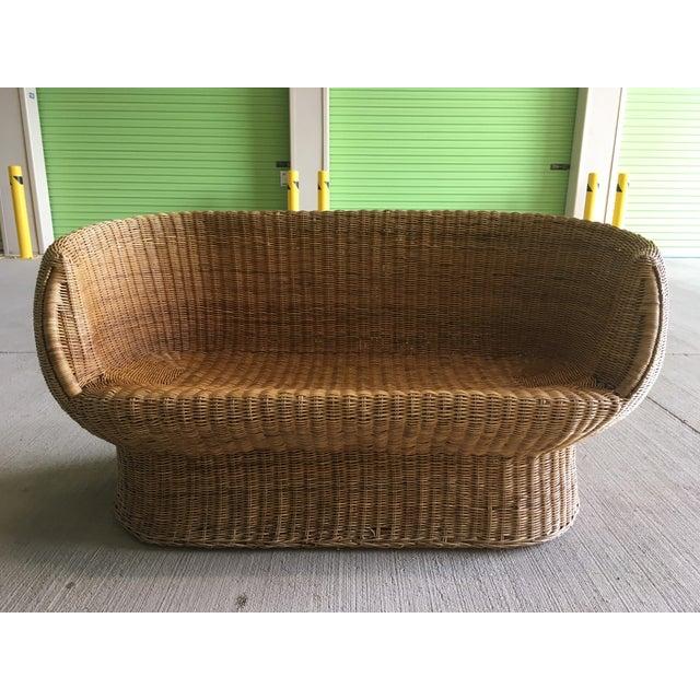 Vintage Wicker Barrel Back Settee For Sale - Image 12 of 12