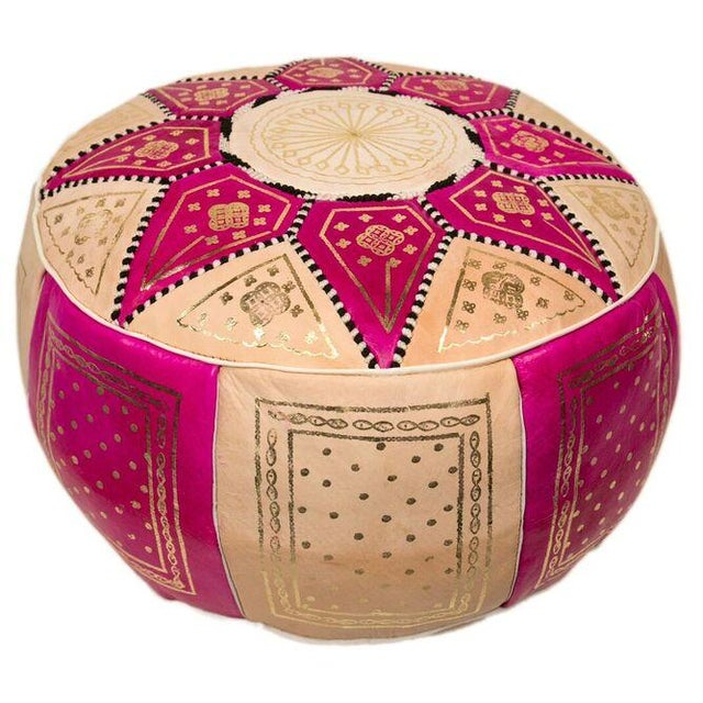 Marrakech Leather Pouf in Fuchsia (Stuffed) - Image 3 of 3