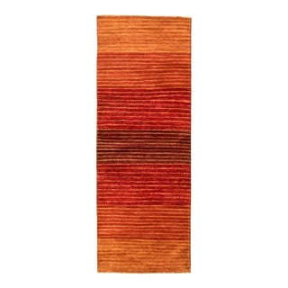 "Orange Ombre Hand-Knotted Runner Rug-2'7"" X 7'4"" For Sale"
