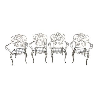 1940s Vintage Spanish Hand Forged Iron Armchairs - Set of 4 For Sale