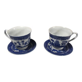 Antique Miniature Blue Willow Tea Cups and Saucers Marked - Set of 2 For Sale