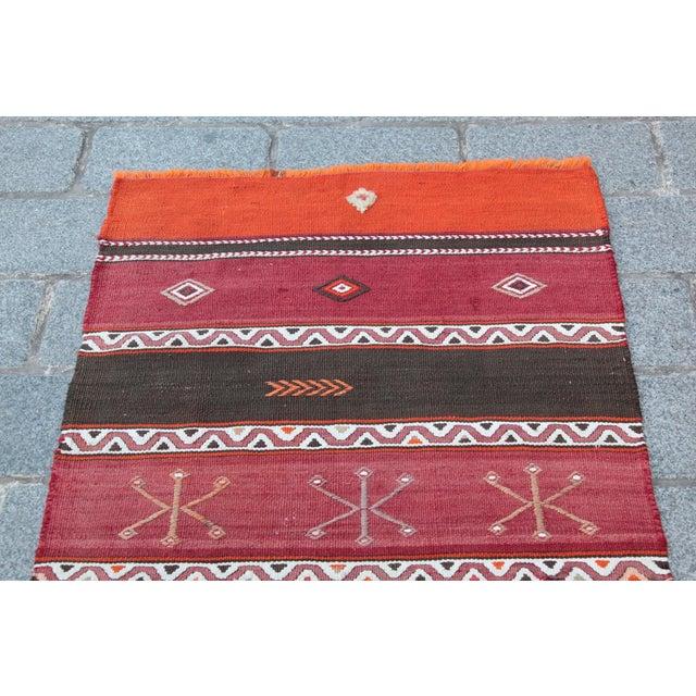 Islamic Orange Stripe Design Kilim Rug - 4' 3'' X 2' 6'' For Sale - Image 3 of 11