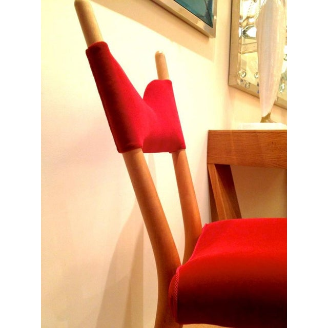Jean Royère Jean Royere Pair of Documented Chairs Covered in Red Velvet For Sale - Image 4 of 7
