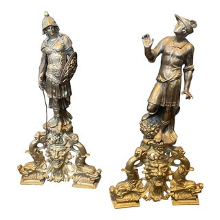 Antique French Bronze Figural Andirons - a Pair For Sale