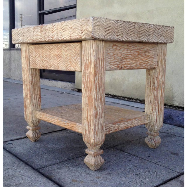 Carved & Bleached Wood Side Tables - A Pair For Sale - Image 4 of 8