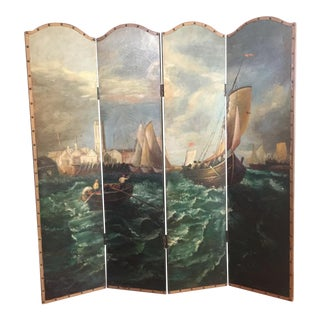 Nautical Oil on Canvas Screen Room Divider For Sale