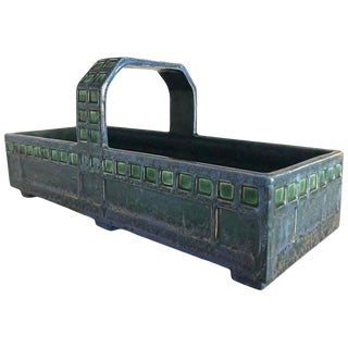 Austrian Secessionist Ceramic Basket After a Josef Hoffmann Design For Sale