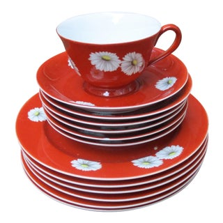 Noritake Red Daisy China - 13 Pieces For Sale