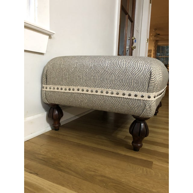Rustic Upholstered Ottoman With Fluted Legs For Sale - Image 3 of 7